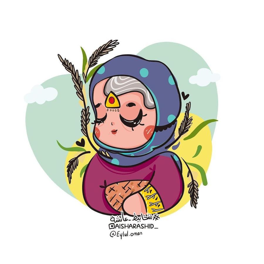 رسمة ثنائية الأبعاد من تحدي أيلول عمان للفنانة عائشة العيسائي