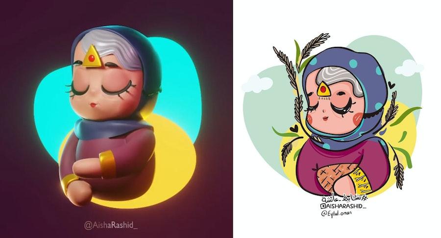 رسمة ثنائية الأبعاد حولتها الفنانة عائشة العيسائي إلى مجسم ثلاثي الأبعاد